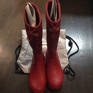 Hunter red tall rain boot. Size 9